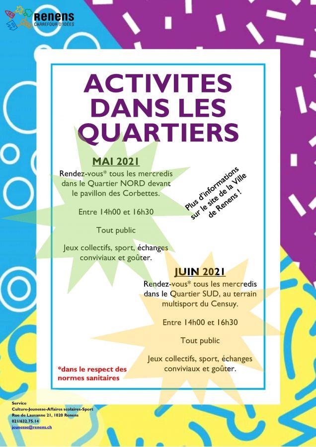 Activités pour enfants dans les quartiers en mai et juin