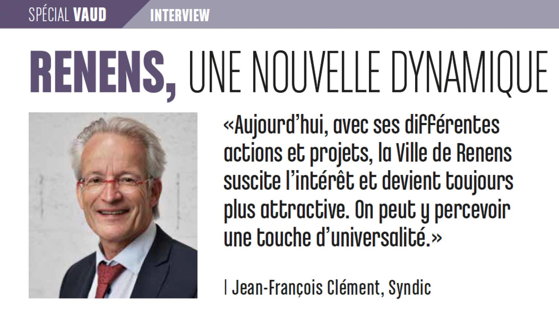 Interview de Jean-François Clément, syndic de Renens, dans le magazine Dossiers Publics