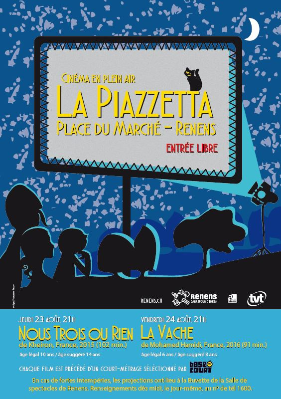 Cinéma en plein air La Piazzetta les 23 et 24 août - Entrée libre!