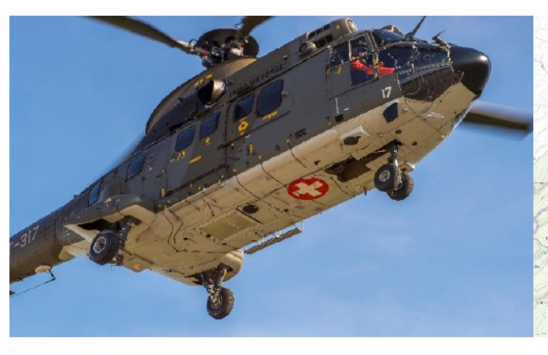 Survol par hélicoptère pour mesure de radioactivité du 9 au 13 novembre 2020
